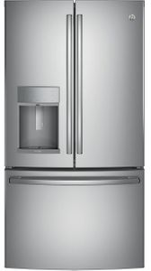 "PYD22KSLSS GE Profile 36"" 22.2 Cu. Ft. Counter-Depth French Door Refrigerator with Door in Door and Hands-Free AutoFill - Stainless Steel"