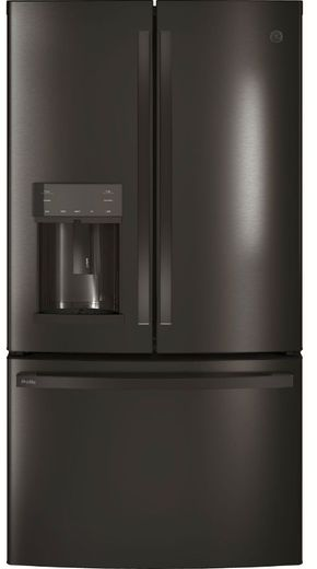 "PYE22KBLTS GE Profile 36"" 22.2 Cu. Ft. Counter Depth French-Door Refrigerator with Hands Free Autofill - Black Stainless Steel"