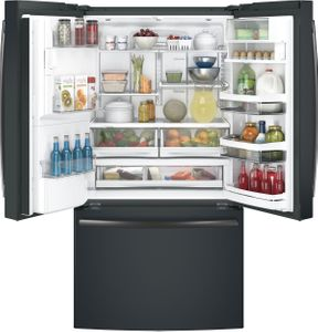 "PYE22KELDS GE Profile 36"" 22.2 Cu. Ft. Counter Depth French-Door Refrigerator with Hands Free Autofill and TwinChill Evaporators - Black Slate"