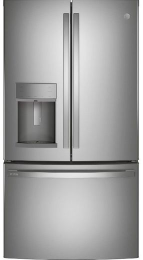 "PYE22KYNFS GE 36"" Profile Series Counter Depth French Door Refrigerator with Hands Free Autofill - Fingerprint Resistant Stainless Steel"