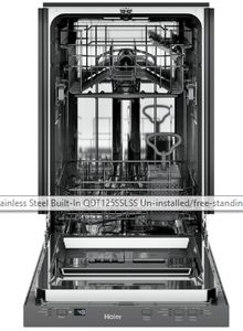 "QDT125SSLSS Haier 18"" Built-In Dishwasher with 47 dBa and 3 Level Wash - Stainless Steel"