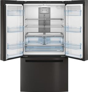 """QNE27JBMTS Haier 36"""" French Door 27.0 Cu. Ft. Refrigerator with Internal Water Dispenser and Quick Space Shelf - Black Stainless Steel"""