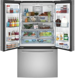 """QNE27JSMSS Haier 36"""" French Door 27.0 Cu. Ft. Refrigerator with Internal Water Dispenser and Quick Space Shelf - Stainless Steel"""