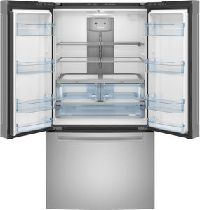 """QNE27JYMFS Haier 36"""" French Door 27.0 Cu. Ft. Refrigerator with Internal Water Dispenser and Quick Space Shelf - Fingerprint Resistant Stainless Steel"""
