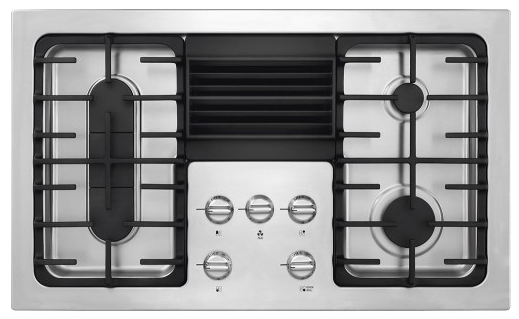 Rc36dg60ps Frigidaire 36 4 Burner Gas Cooktop With Built In 500 Cfm Downdraft Exhaust Stainless Steel
