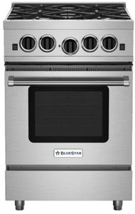 """RCS24SBV2 BlueStar 24"""" RCS Series Freestanding Sealed 4 Burner Range with Infrared Boiler and Extra Large Convection Oven - Stainless Steel"""