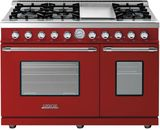 """RD482GCRC Superiore 48"""" DECO Gas and Electric Range with Classic Door, Griddle, and Two Extra Large Gas Ovens - Red with Chrome Accent"""
