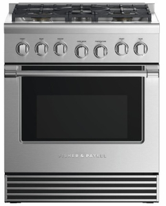"RDV2304LN Fisher & Paykel 30"" Dual Fuel Liquid Propane Gas Range with 4 Burners and LED Halo Control Dials - Stainless Steel"