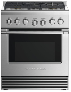 "RDV2305LN Fisher & Paykel 30"" Dual Fuel Liquid Propane Gas Range with 5 Burners and LED Halo Control Dials - Stainless Steel"