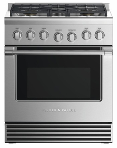 "RDV2305NN Fisher & Paykel 30"" Dual Fuel Natural Gas Range with 5 Burners and LED Halo Control Dials - Stainless Steel"
