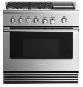 """RDV2364GDNN Fisher & Paykel 36"""" Dual Fuel Natural Gas Range with 4 Burners and Griddle - Stainless Steel"""