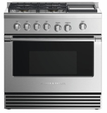 "RDV2364GDNN Fisher & Paykel 36"" Dual Fuel Natural Gas Range with 4 Burners and Griddle - Stainless Steel"