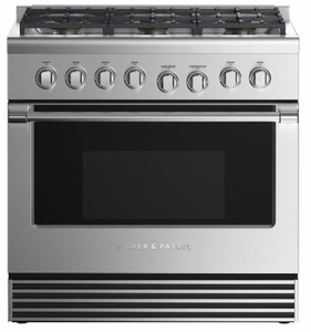 "RDV2366LN Fisher & Paykel 36"" Dual Fuel Liquid Propane Gas Range with 6 Burners and LED Halo Controls - Stainless Steel"