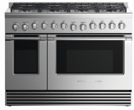 "RDV2488LN Fisher & Paykel 48"" Liquid Propane Gas Dual Fuel Range with 8 Burners and LED Halo Controls - Stainless Steel"