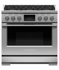 """RDV3366L Fisher & Paykel 36"""" Series 9 Professional 6 Burner Dual Fuel Range with True Convection Oven and Self Clean - Liquid Propane - Stainless Steel"""