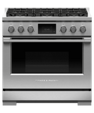 "RDV3366N Fisher & Paykel 36"" Series 9 Professional 6 Burner Dual Fuel Range with True Convection Oven and Self Clean - Natural Gas - Stainless Steel"
