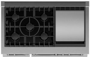 """RDV3485GDL Fisher & Paykel 48"""" Series 9 Professional 5 Burner Dual Fuel Range with True Convection Oven and Griddle - Liquid Propane - Stainless Steel"""
