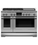 "RDV3485GDN Fisher & Paykel 48"" Series 9 Professional 5 Burner Dual Fuel Range with True Convection Oven and Griddle - Natural Gas - Stainless Steel"