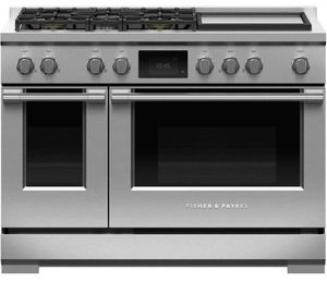 """RDV3485GDN Fisher & Paykel 48"""" Series 9 Professional 5 Burner Dual Fuel Range with True Convection Oven and Griddle - Natural Gas - Stainless Steel"""