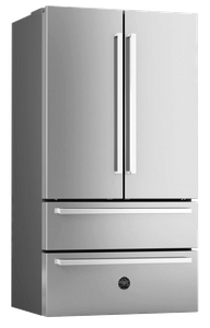 "REF36X17 Bertazzoni 36""  Freestanding Counter Depth French Door Refrigerator with 21 cu. ft. Capacity and 4 Half-Width Adjustable Glass - Stainless Steel"