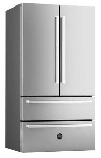 """REF36X17 Bertazzoni 36"""" Freestanding Counter Depth French Door Refrigerator with 21 cu. ft. Capacity and 4 Half-Width Adjustable Glass - Stainless St"""