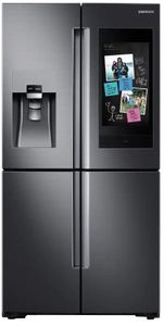 "RF22N9781SG Samsung 36"" 22 Cu. Ft. Counter Depth 4-Door French Door Refrigerator with Family Hub and Triple Cooling System - Fingerprint Resistant Black Stainless Steel"