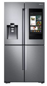 "RF22N9781SR Samsung 36"" 22 Cu. Ft. Counter Depth 4-Door French Door Refrigerator with Family Hub and Triple Cooling System - Fingerprint Resistant Stainless Steel"