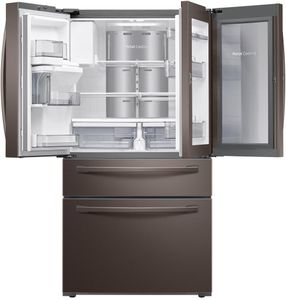 "RF22R7351DT Samsung 36"" 22.4 cu. ft. Food Showcase 4-Door French Door Refrigerator with Wi-fi and FlexZone Drawer - Fingerprint Resistant Tuscan Stainless Steel"