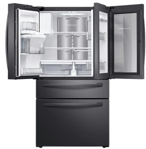 """RF22R7351SG Samsung 36"""" 22.4 cu. ft. Food Showcase 4-Door French Door Refrigerator with Wi-Wfi and FlexZone Drawer - Fingerprint Resistant Black Stainless Steel"""