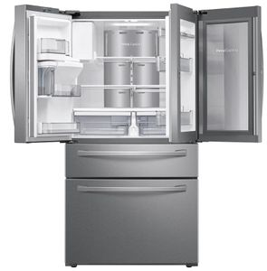 """RF22R7351SR Samsung 36"""" 22.4 cu. ft. Food Showcase 4-Door French Door Refrigerator with Wi-Wfi and FlexZone Drawer - Stainless Steel"""