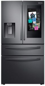 """RF22R7551SG Samsung 36"""" 22 cu. ft. WiFi Enabled Counter Depth 4-Door French Door Refrigerator with Connected Touchscreen Family Hub and BixbyVoice - Fingerprint Resistant Black Stainless Steel"""