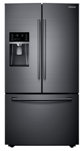 """RF23HCEDBSG Samsung 36"""" Wide, Counter Depth 23 cu. ft. Capacity French door Refrigerator with Twin Cooling - Black Stainless Steel"""