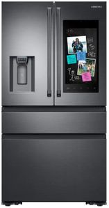 "RF23M8590SG Samsung 36"" 22.2 cu. ft. Counter Depth 4 Door Refrigerator with Family Hub and Twin Cooling Plus - Fingerprint Resistant Black Stainless Steel"