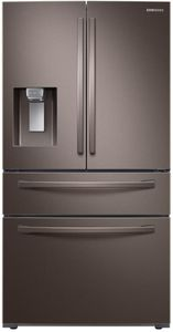 """RF24R7201DT Samsung 36"""" Counter Depth 4 Door Refrigerator with FlexZone and  Twin Cooling Plus - Fingerprint Resistant Tuscan Stainless Steel"""