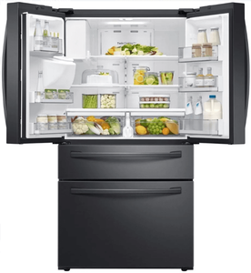 "RF24R7201SG Samsung 36"" Counter Depth 4 Door Refrigerator with FlexZone and  Twin Cooling Plus - Fingerprint Resistant Black Stainless Steel"