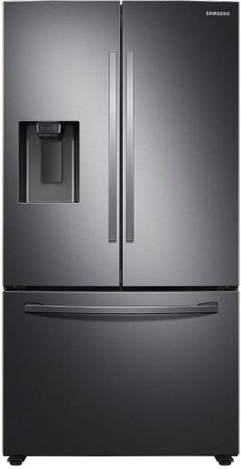 "RF27T5201SG Samsung 36"" 27 cu. ft. 3 Door French Door Refrigerator with External Water & Ice Dispenser - Fingerprint Resistant Black Stainless Steel"