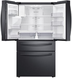 """RF28R7201SG Samsung 36"""" 4 Door Refrigerator with Twin Cooling Plus and EZ-Open Handles - Fingerprint Resistant Black Stainless Steel"""