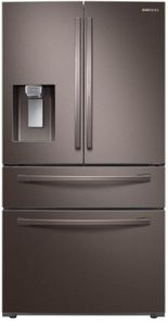 """RF28R7351DT Samsung 36"""" French Door Refrigerator with High-Efficiency LED Lighting and Wi-Fi - Fingerprint Resistant Tuscan Stainless Steel"""