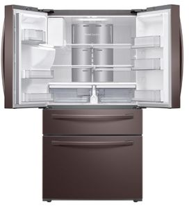 "RF28R7551DT Samsung 36"" 28 cu. ft. WiFi Enabled 4-Door French Door Refrigerator with Connected Touchscreen Family Hub and BixbyVoice - Fingerprint Resistant Tuscan Stainless Steel"