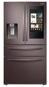 """RF28R7551DT Samsung 36"""" 28 cu. ft. WiFi Enabled 4-Door French Door Refrigerator with Connected Touchscreen Family Hub and BixbyVoice - Fingerprint Resistant Tuscan Stainless Steel"""