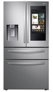 """RF28R7551SR Samsung 36"""" 28 cu. ft. WiFi Enabled 4-Door French Door Refrigerator with Connected Touchscreen Family Hub and BixbyVoice - Fingerprint Resistant Stainless Steel"""