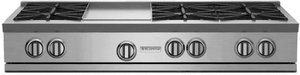 "RGTNB484GCBV2N BlueStar 48"" Natural Gas Rangetop - 4 Burners with 24"" Grill/Griddle - Stainless Steel"