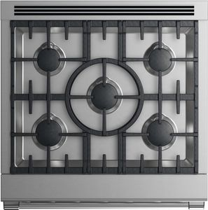 """RGV2305LN 30"""" Fisher & Paykel Professional Series Liquid Propane Gas Range with 5 Sealed Burners and 4.0 cu. ft. Convection Oven - Stainless Steel"""