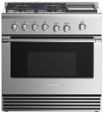 "RGV2364GDNN Fisher & Paykel 36"" Natural Gas Range with 4 Burners and Griddle - Stainless Steel"