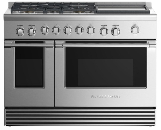 "RGV2485GDNN Fisher & Paykel 48"" Natural Gas Range with 5 Burners and Griddle - Stainless Steel"