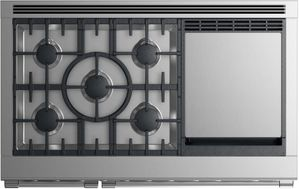 """RGV2485GDNN Fisher & Paykel 48"""" Natural Gas Range with 5 Burners and Griddle - Stainless Steel"""