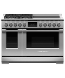 "RHV3484L Fisher & Paykel 48"" Series 9 Professional Hybrid Range with 4 Burners and 4 Induction Zones - Liquid Propane - Stainless Steel"