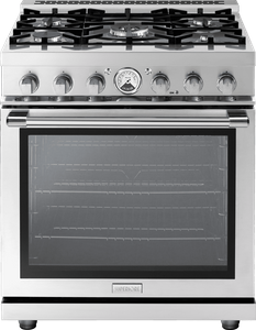 """RL301GPSS Superiore 30"""" LA CUCINA Series Panorama Free Standing Gas Range with Convection and 5 Sealed Burners- Stainless Steel"""