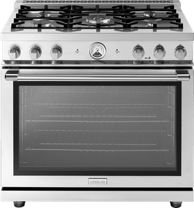 """RL361GPSS Superiore 36"""" LA CUCINA Series Panorama Free Standing Gas Range with Convection and 5 Burners- Stainless Steel"""
