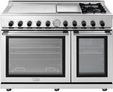 "RN483GPSS Superiore 48"" NEXT Range with Panorama Door, Induction and Gas burners, Electric Griddle and Two Extra Large Gas Ovens - Natural Gas - Stainless Steel"